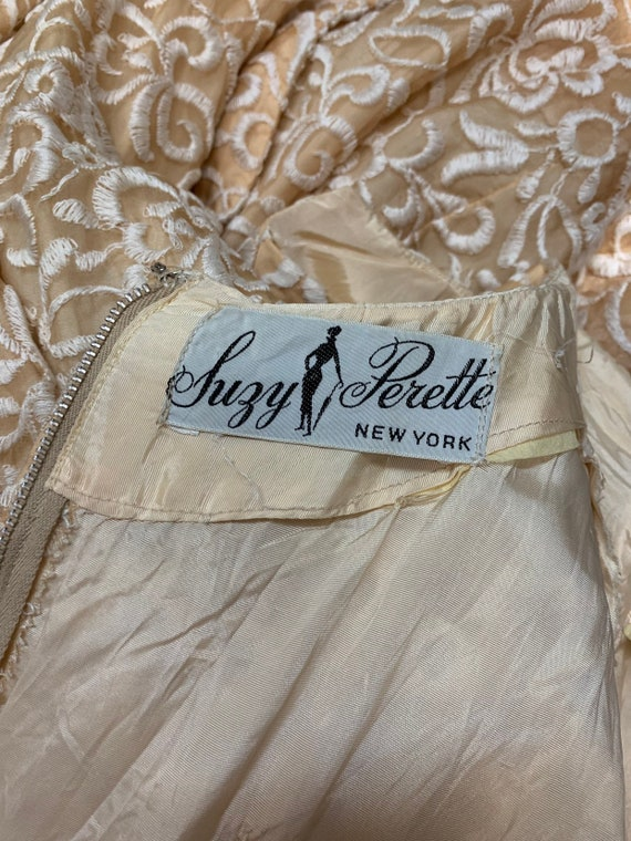 50s Suzy Perette Gold Party Dress Embroidered Flo… - image 10