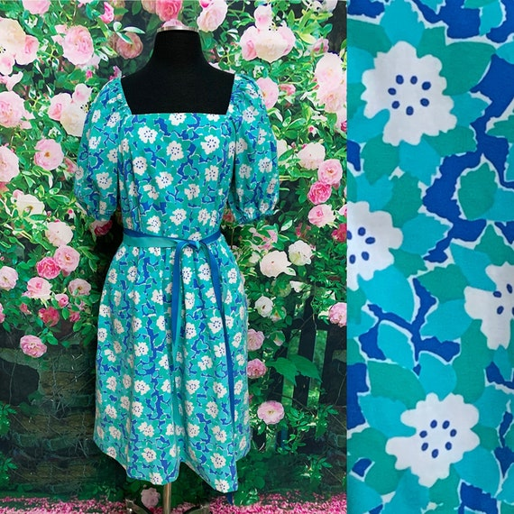70s The Vested Gentress Teal Floral Dress Hand Scr
