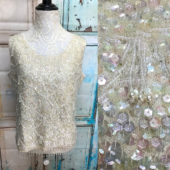1719a60975efb 60s Cream Iridescent Sequin Tank Beaded Shell Scalloped Blouse