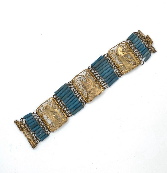 20s Egyptian Revival Panel Bracelet Blue Faience F
