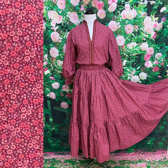 70s Martha of Taos Pink Calico Skirt Blouse Prairi