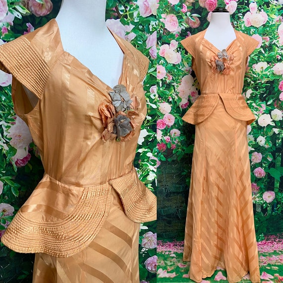 40s Peach Rayon Evening Gown Quilted Shawl Collar