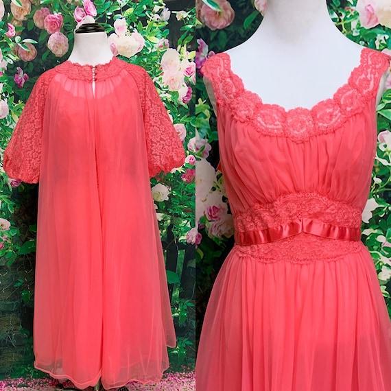 60s Vanity Fair Hot Pink Chiffon Peignoir Negligee