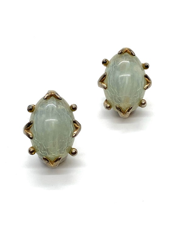 60s Pale Green Lucite Clip Earrings Clear Marbled