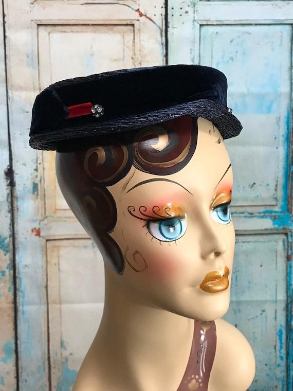 50s Blue Straw Hat Velvet Ribbon Rhinestone Button - image 2