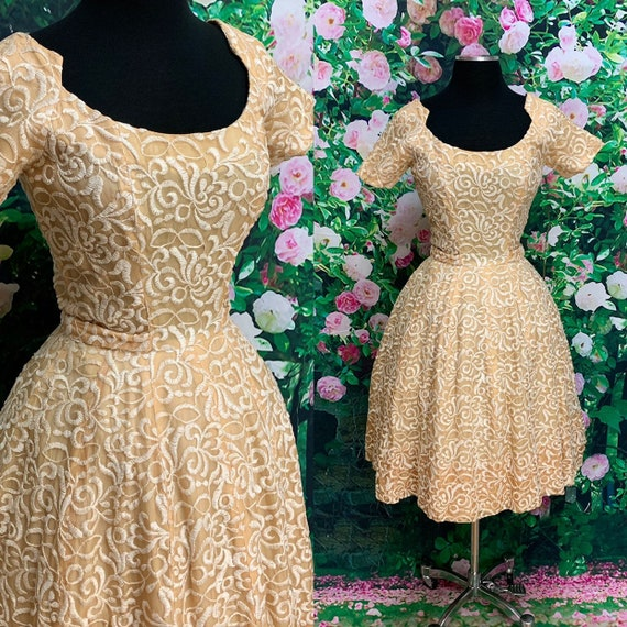 50s Suzy Perette Gold Party Dress Embroidered Flo… - image 1