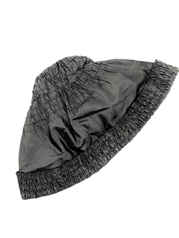 30s Black Silk Smocked Cloche Beanie Hat