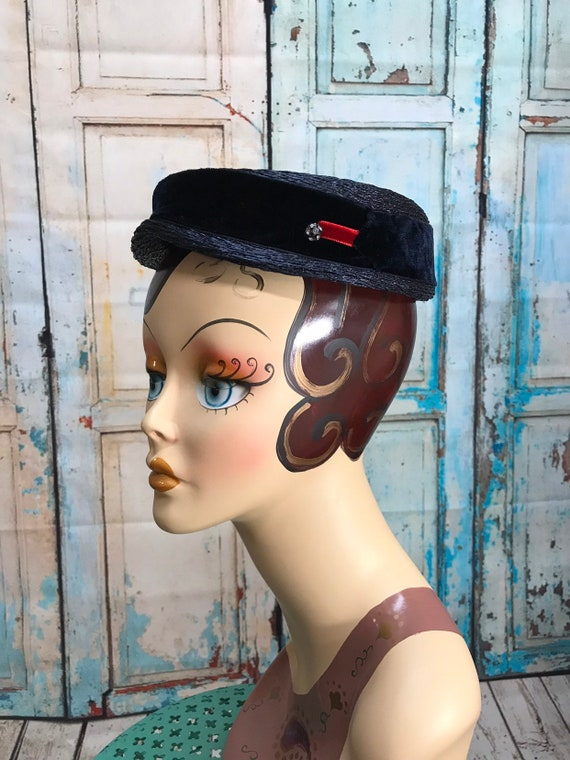 50s Blue Straw Hat Velvet Ribbon Rhinestone Button - image 4