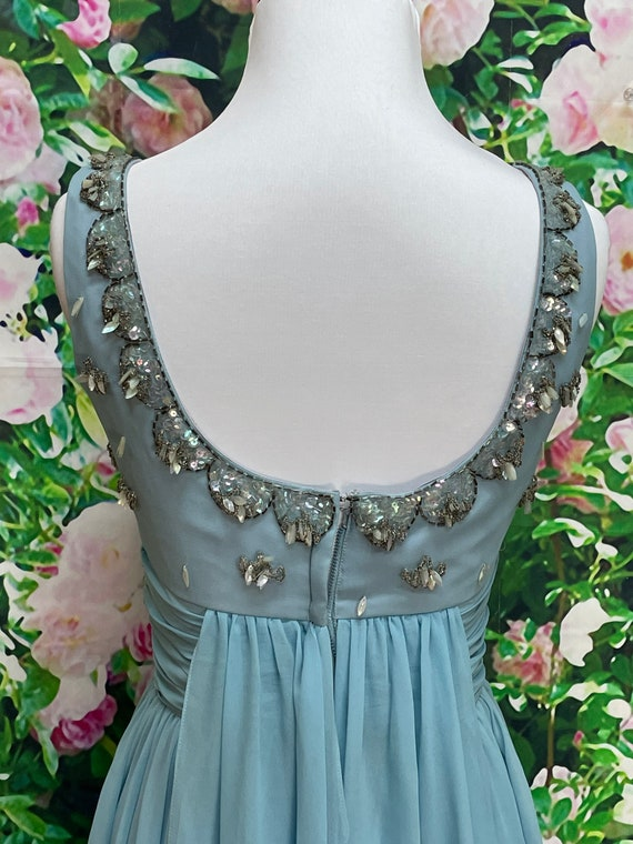 50s Blue Chiffon Party Dress Sequin Embellished N… - image 9