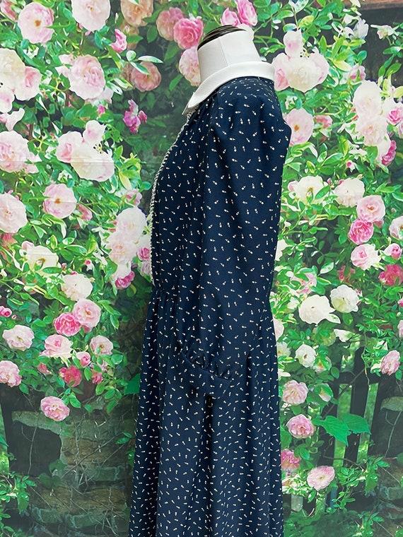 80s Navy Blue Tulip Print Secretary Dress XL - image 7