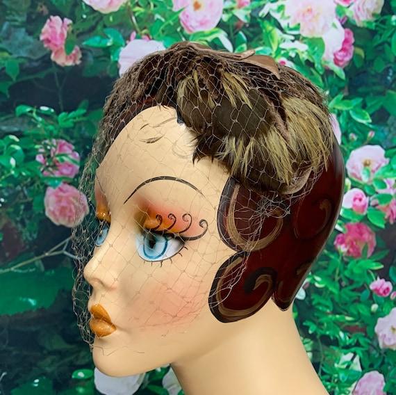 50s Brown Feather Headband Velvet Bow Leaves Fasc… - image 1