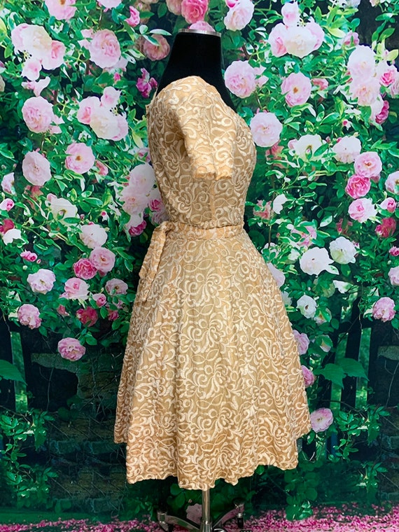 50s Suzy Perette Gold Party Dress Embroidered Flo… - image 6