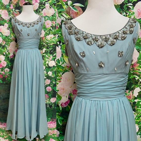 50s Blue Chiffon Party Dress Sequin Embellished N… - image 1