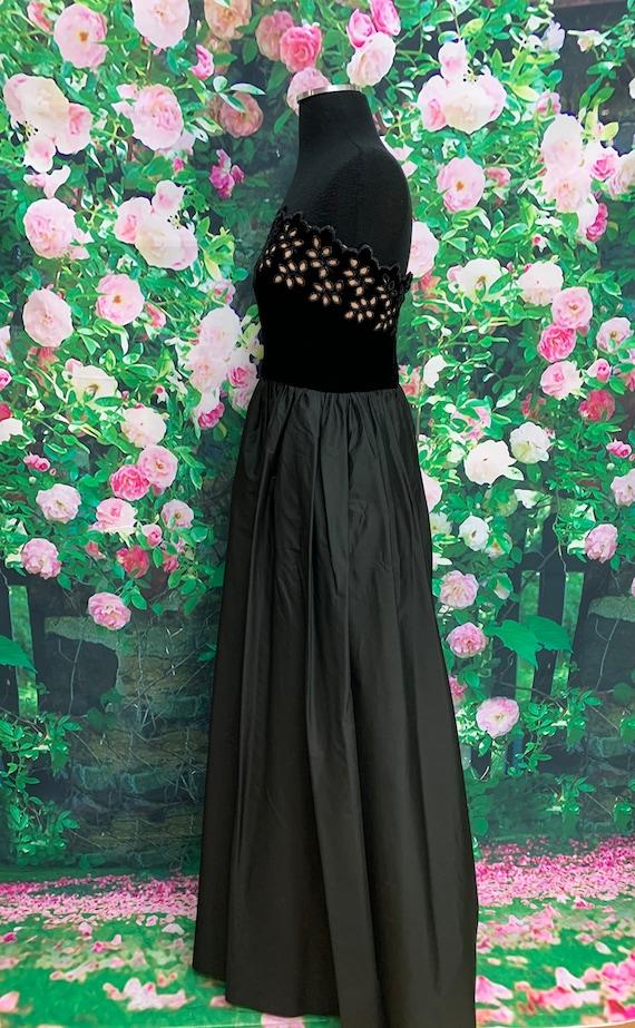 80s Harry Acton Black Velvet Strapless Dress Cuto… - image 8