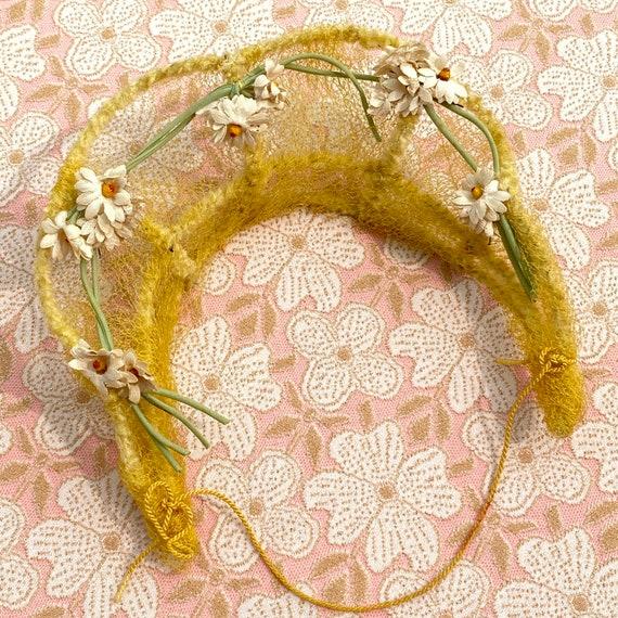 30s Halo Hat Tiara Headband Yellow Daisies