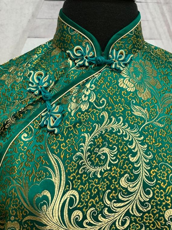 80s Green Silk Brocade Cheongsam Dress Gold Flora… - image 4