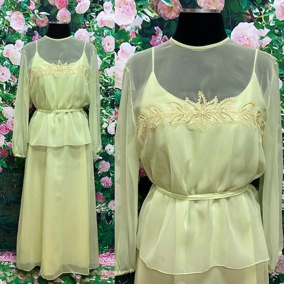 60s Jack Bryan Mint Green Chiffon Maxi Dress