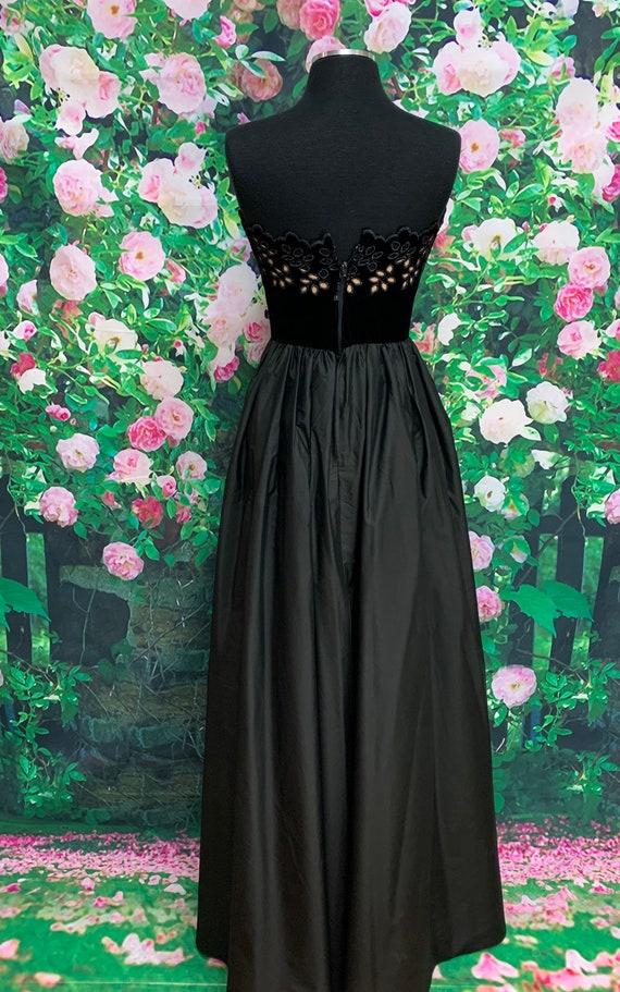 80s Harry Acton Black Velvet Strapless Dress Cuto… - image 9