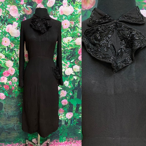 30s Arthur Weiss Black Crepe Dress Beaded Bow