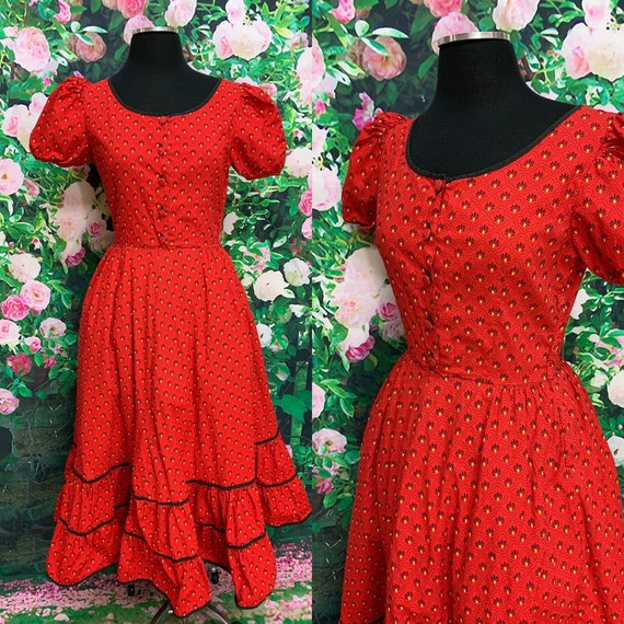 70s Red Calico Prairie Dress Ruffled Skirt Small C