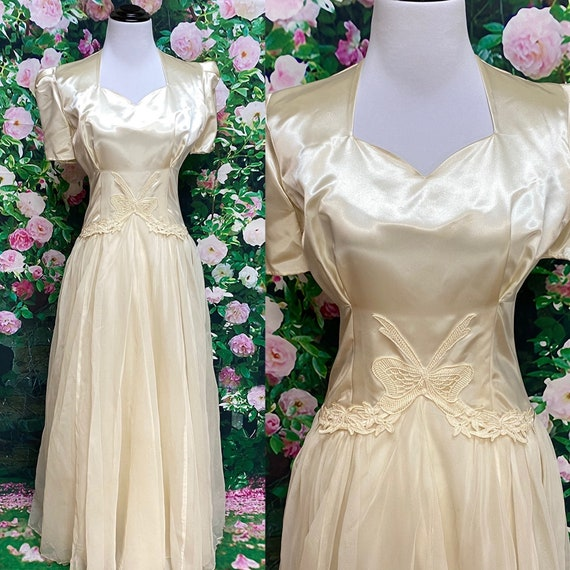 40s Ivory Satin Chiffon Wedding Gown Lace Bows