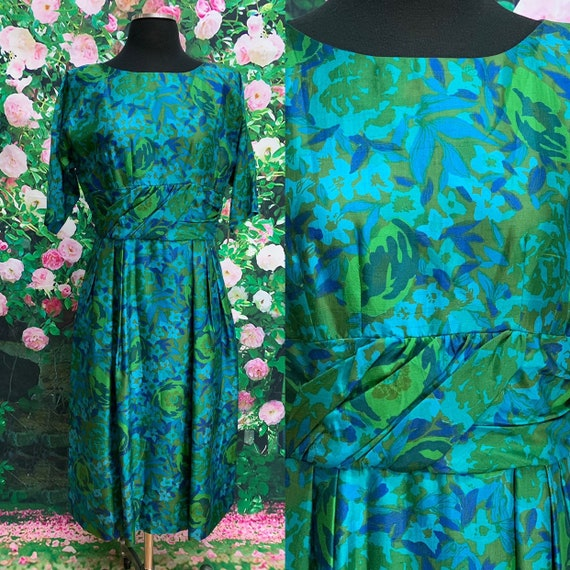 60s Blue Silk Floral Dress Kerrybrooke
