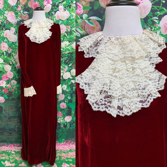 60s Red Velvet Maxi Dress Lace Cravat Ruffle Holid