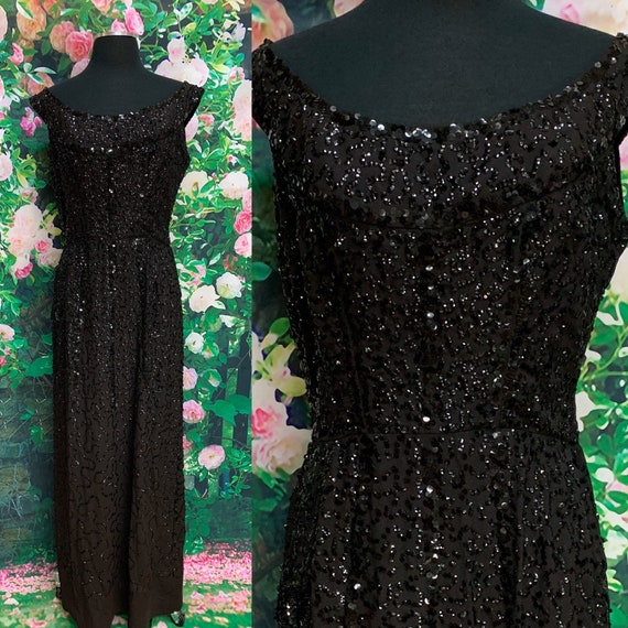 60s Black Sequin Evening Gown Dress Large