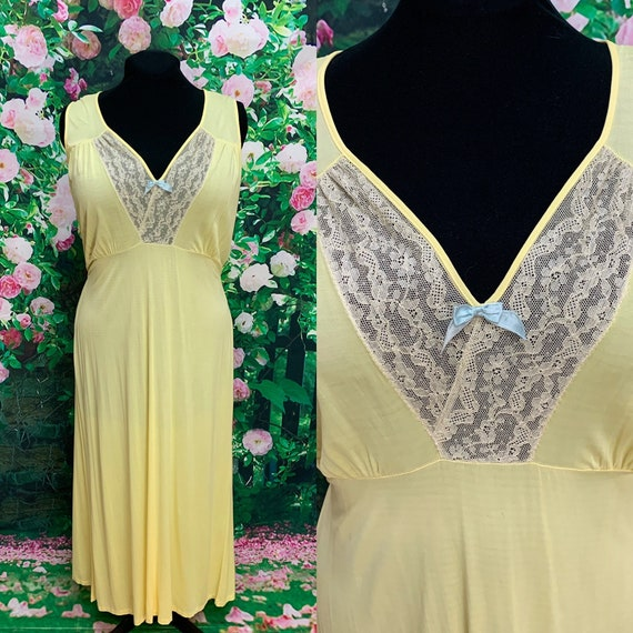 40s Philmaid Yellow Rayon Nightgown Spun Lo Large