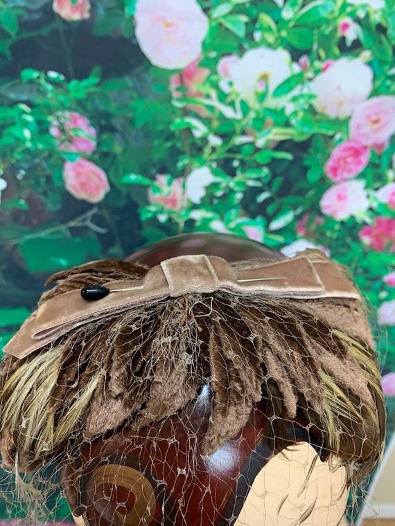 50s Brown Feather Headband Velvet Bow Leaves Fasc… - image 2