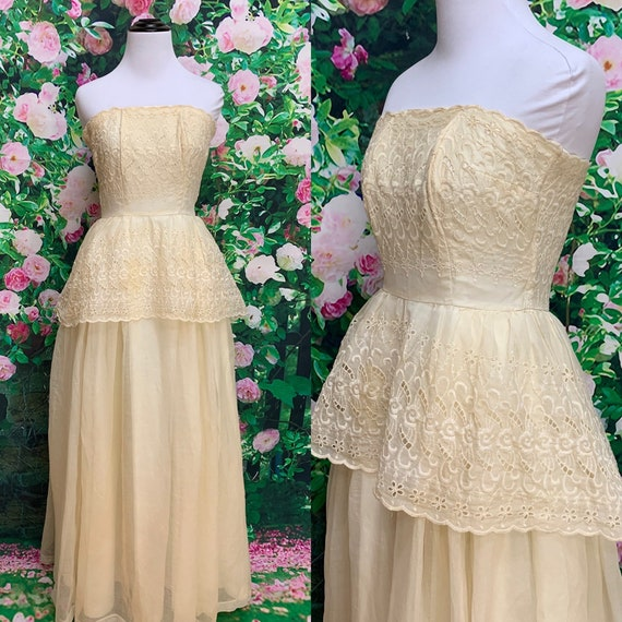 50s Cream Eyelet Lace Strapless Gown Chiffon Dress