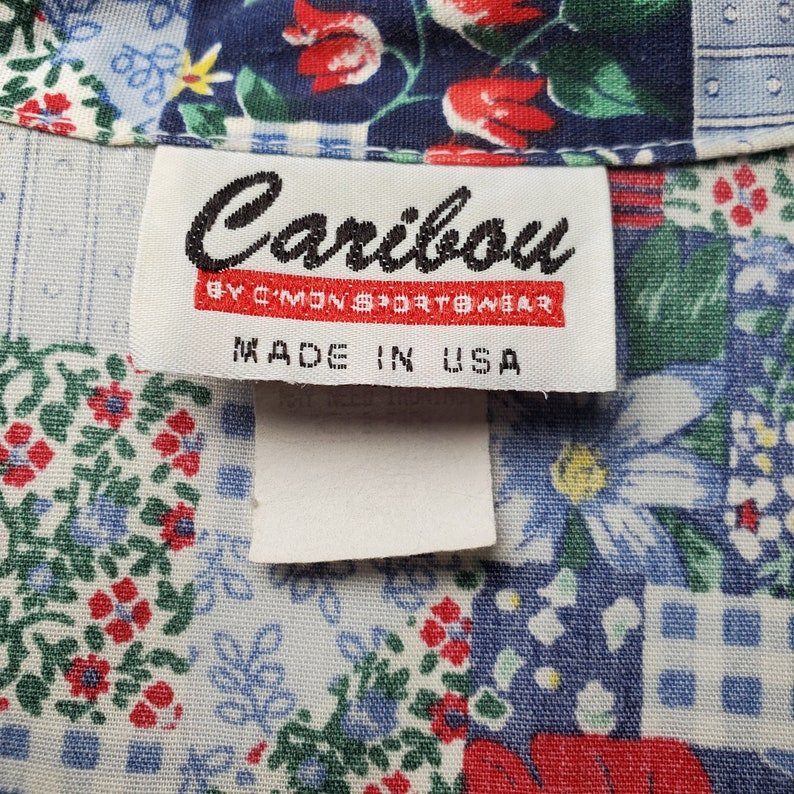 Vintage 80/'s Caribou Floral Patchwork Button Up Shirt 1990/'s Short Sleeve Spring Summer Flowers Red White Blue Gingham Stripes Women/'s L