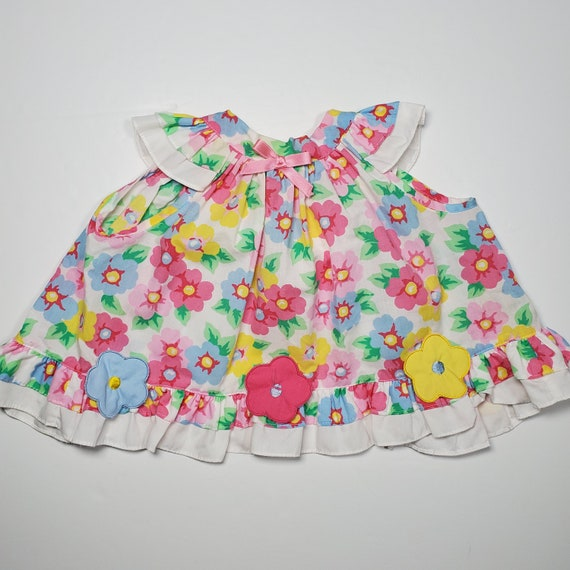 Vintage 80's Baby Girl's Floral Apron Pinafore Dre
