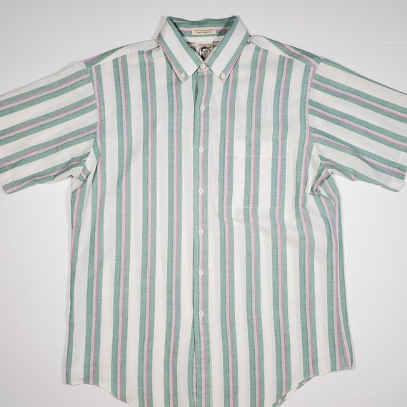 Vintage 80's Arrow Dover Candy Striped Button Up S