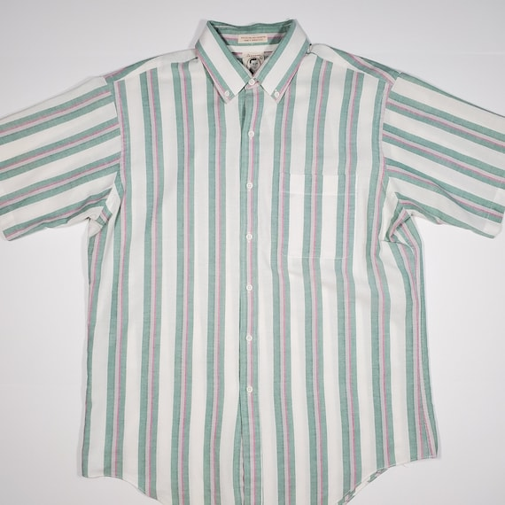 Vintage 80's Arrow Dover Candy Striped Button Up … - image 1
