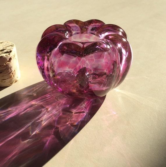 Hand Blown Glass Jar Ruby Jewel Optic with cork