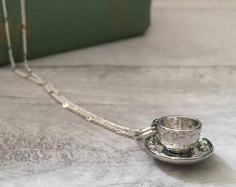 Teacup necklace tea cup necklace coffee cup necklace coffee lover gift tea wedding tea cup teacher appreciation bridesmaid gift wedding