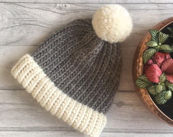 Chunky knit hat, grey and cream, knitted beanie men, womens hat, winter hat, matching mum and baby, bobble hat, gifts for her, pom pom hat
