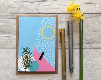 Abstract card just because card plant card monstera fern palm leaf thank you card friendship car  invitation card mothers day uk outdoor