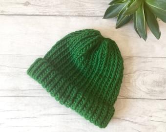 Green fishermans hat, fisherman hat, green beanie hat, mens hat, hats for men, gardening gift, womens beanie, green hat, chunky knit wool UK