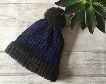 Mens knitted hat, chunky knit hat, mens beanie hat, blue bobble hat, fisherman hat, blue and brown hat, slouchy hat, gift for boyfriend uk