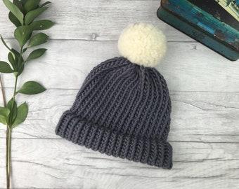4242162d51b Dark grey hand knitted hat - mens wool hat - fisherman hat - hats for women  - children s knitwear