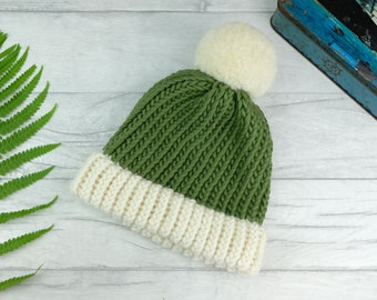 teenager adult size Khaki Brown and White with Brontosaurus Dinosaurs Beanie Hat with or without pompom