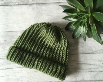 da9685587f402 Olive green fisherman hat beanie made from merino wool - hand knitted hat - beanie  hat