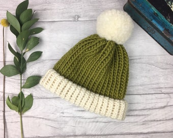 bd01b50f6a1 Luxury green bobble hat made from 100% wool - moss green hand knitted adult  hat - children sizes available