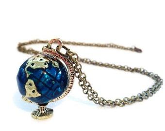 Globe necklace etsy world map necklace globe necklace inspirational atlas necklace world globe necklace planet necklace globe pendant gap year jewellery aloadofball Choice Image