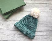 Chunky knit hat duck egg blue beanie hat with pom pom, winter hat for him, toque for her