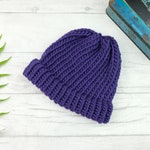 Violet purple beanie hat - hand knitted beanie hat - adult knit hat - toddler hat - baby hat