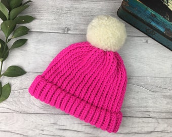 b5600d9f7e9 Bright pink knitted hat made from pure wool - running hat - women bobble hat  - neon pink UK