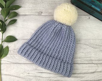 67cb3dd8887 Pale blue knitted pom pom hat made from pure wool - matching mum and baby -  dad and baby hats
